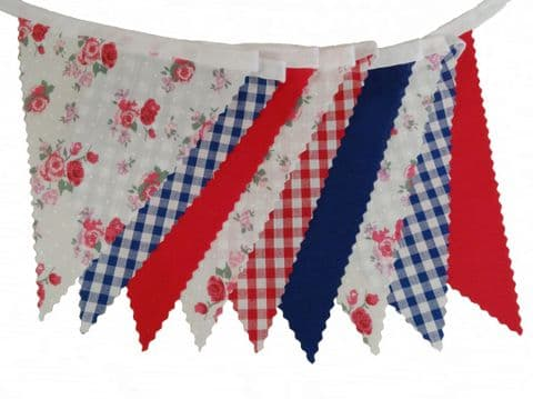 BUNTING Roses Gingham Plain Red Blue on White - Vintage Style Wedding Celebrations - 3m, 5m or 10m