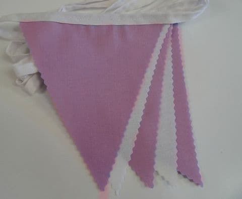 BUNTING White & Lilac - 3m/10ft or 5m/16ft