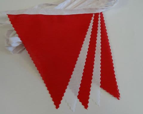 BUNTING White & Red - 3m/10ft or 5m/16ft