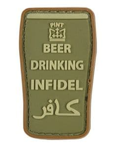 Beer Drinking Infidel Military Badge Patch Olive Green