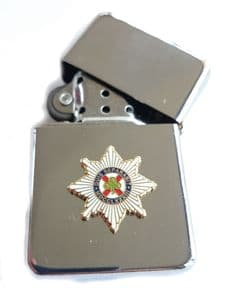 Irish Guards Chrome Plated Windproof Petrol Lighter in Gift Box
