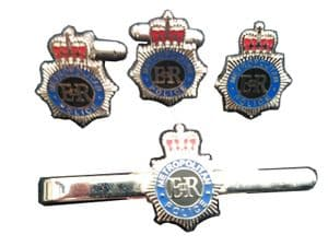 Metropolitan Police Cufflink, Lapel Badge and Tie Clip Military Set