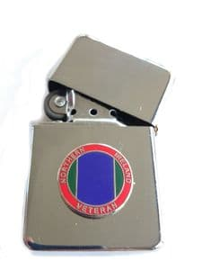 Northern Ireland Veteran Chrome Plated Windproof Petrol Lighter in Gift Box