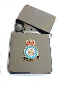 RAF Police Royal Air Force Chrome Plated Windproof Petrol Lighter in Gift Box