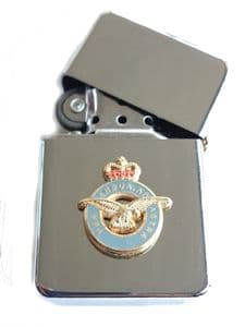 RAF Royal Air Force Chrome Plated Windproof Petrol Lighter in Gift Box