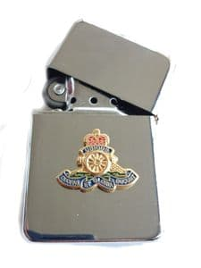 Royal Artillery Chrome Plated Windproof Petrol Lighter in Gift Box