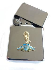 Royal Corps of Signals Chrome Plated Windproof Petrol Lighter in Gift Box