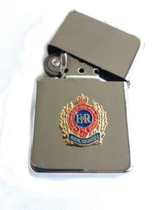 Royal Engineers Chrome Plated Windproof Petrol Lighter in Gift Box