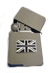 Thin Blue Line Police Chrome Plated Windproof Petrol Lighter in Gift Box