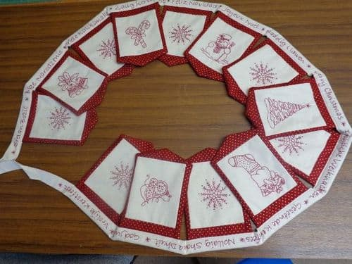 Red work bunting