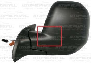Peugeot Partner 2008 - 2012 Door Mirror Electric Heated Manual Fold Type With Black Cover Near Side