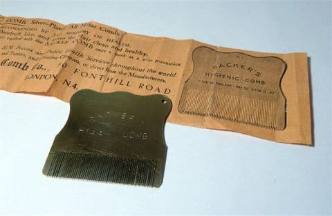 Vintage Medical Sacker's Patent Hygienic Solid Brass Comb 1940s School Nit Nurse Packet Instructions