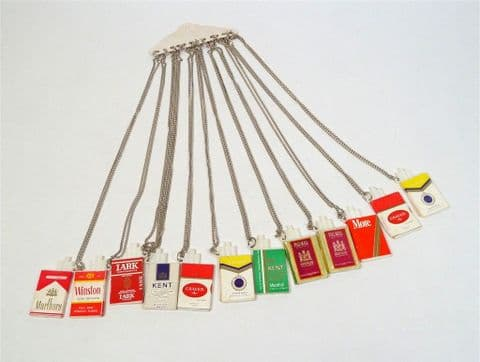12 Vintage Advertising Miniature Cigarette Packet Necklaces Silver Chains Shop Display 70s Jewellery