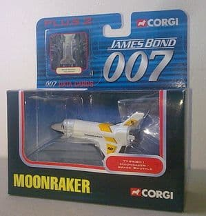 2003 James Bond 007 Die Cast Model Corgi Space Shuttle Moonraker MIB Crystal Plinth