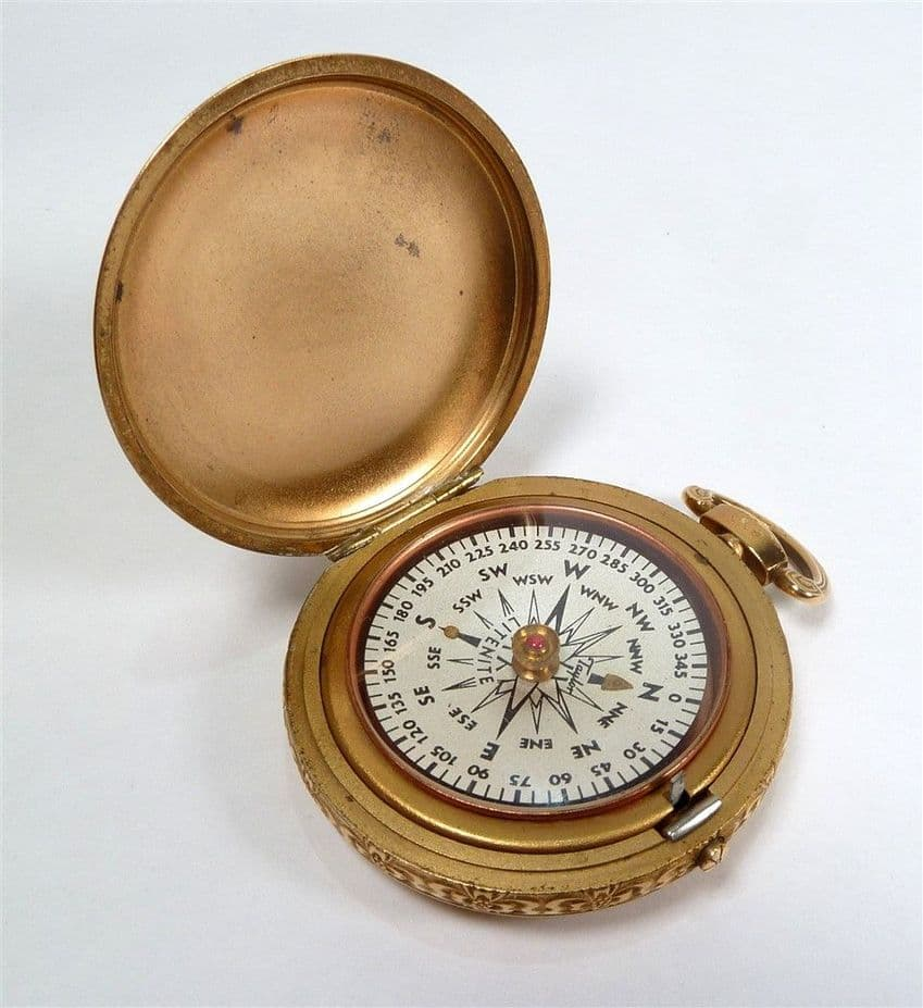 Antique Brass Cased Taylor Litenite NY USA Hunter Watch Compass Walking Map Reading Military