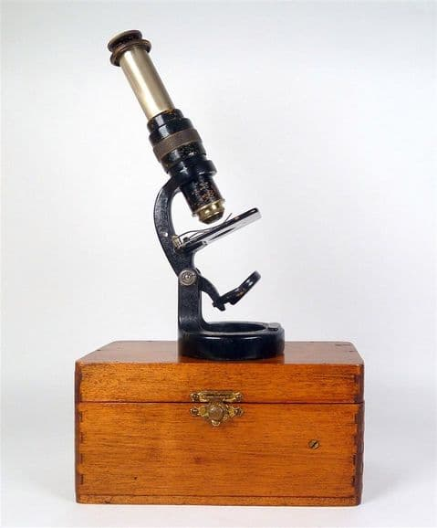 Antique Cased C Baker London  Bakers Improved Nature Field Compound Microscope Portable c1920s