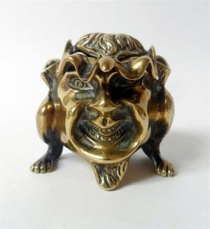 Antique Desk 19th Century Brass Grotesque Anthropomorphic Devil Imp Inkwell Dip Pens Stand Mythical