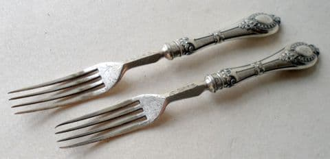 Antique English Solid Sterling Silver Handled Forks Harrison Bros & Howson Sheffield Circa 1880 1890 HH Duty Mark No date letter