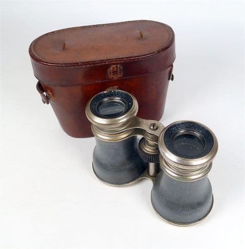 Antique French Le Jockey Club Paris Binoculars Field Glasses in Leather Case Walking Horse Racing