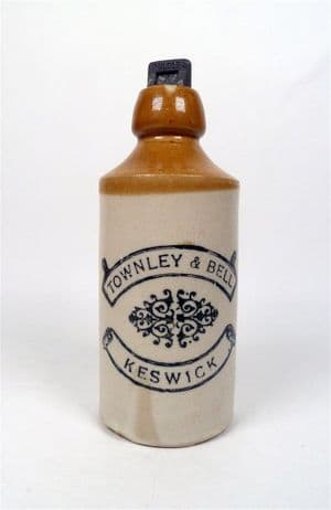 Antique Ginger Beer Bottle Townley & Bell Keswick Circa 1900s Faulders Brewery Stopper