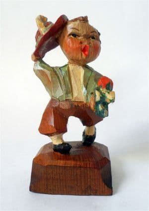 Antique Hand Carved Painted Wooden Wood Boy Figure Flowers Hat European Folk Art Black Forest