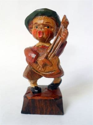 Antique Hand Carved Painted Wooden Wood Boy Figure Mandolin European Folk Art Black Forest