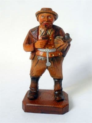 Antique Hand Carved Painted Wooden Wood Old Man Pipe Umbrella Figure European Folk Art Black Forest