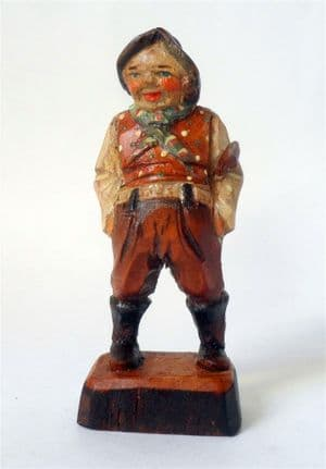 Antique Hand Carved Painted Wooden Wood Old Man Stick Farmer? Figure European Folk Art Black Forest