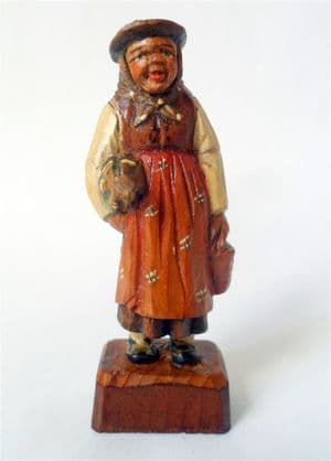 Antique Hand Carved Painted Wooden Wood Old Woman Umbrella Figure European Folk Art Black Forest