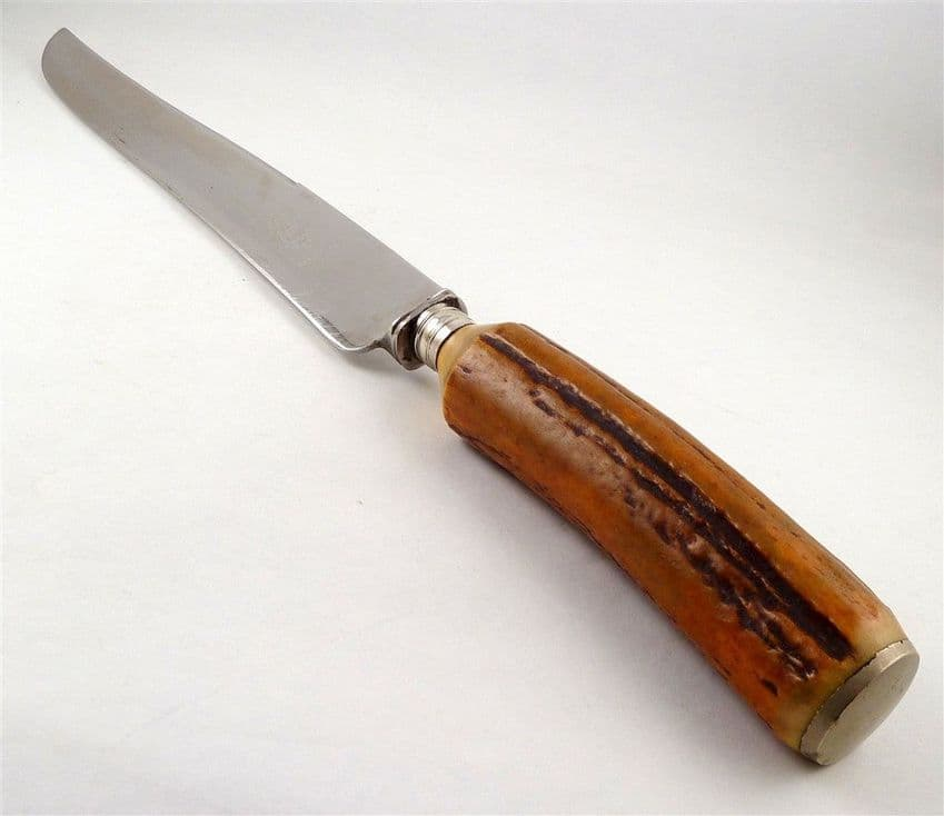 Antique John Tupton Sheffield England Firth Stainless Kitchen Carving Knife Stag Handle 1910s