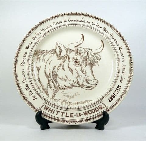Antique Kitchen 1887 Whittle-Le-Woods Village Ox Roast Ironstone Hancock Plate Queen Victoria