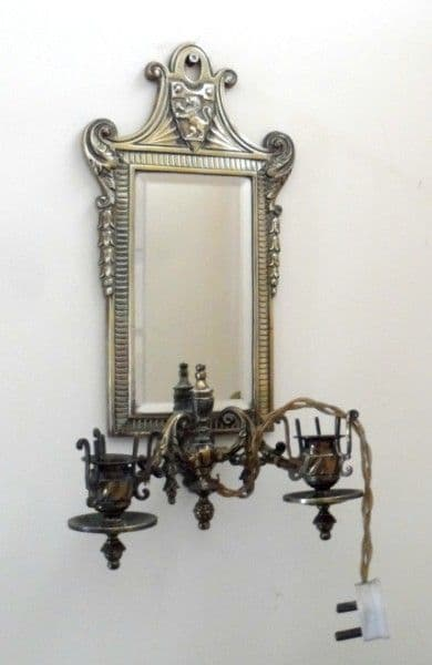 Antique Late 19th Century Brass Mirror Double Sconce Candle Holder Rd 18th Nov 1883 Lion Crest