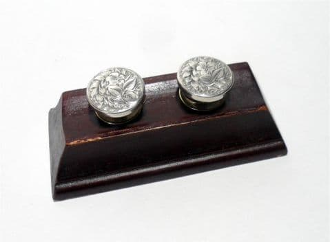 Antique Silver West's Patent Solitaire Cufflinks Cuff Links Floral Leaf Design George West Bachelor