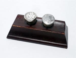 Antique Silver West's Patent Solitaire Cufflinks Cuff Links Leaf Design George West Bachelor Buttons