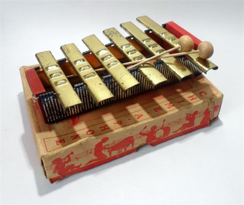 Antique Toy Patent Boxed Musical Instrument Chime-A-Phone New York Xylophone Glockenspiel 1920 1930s