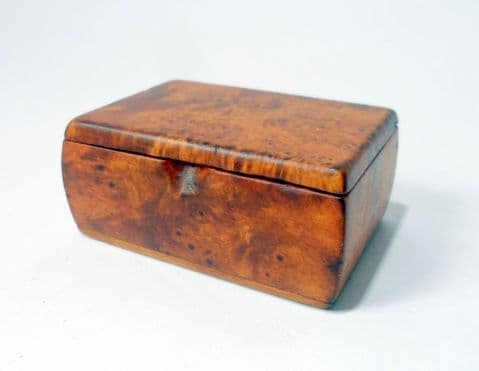 Antique Treen 19th Century Burr Walnut Snuff Box Small Trinket First Tooth Hair Keepsakes