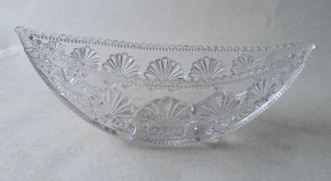 Antique Victorian Pressed Glass George Davidson Gateshead England Boat Shaped Bowl 1880s Reg Number RD No 212684 War of the Roses