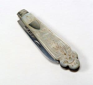 Antique Victorian Sterling Silver & MOP Fruit Knife Villiers & Jackson Sheffield England 1897