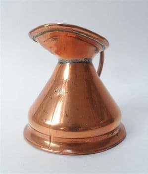 Antique Vintage Bar Pub Copper Single Haystack Imperial Gill Measure Lead Verification Seal Jug
