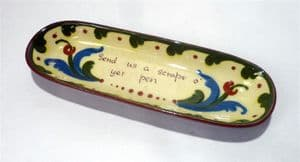 Antique Vintage Desk Torquay Ware Watcombe Pottery Pen Tray Circa 1910 Letter Writing Motto Send Us