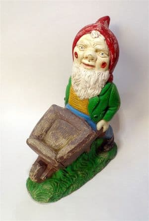 Antique Vintage Large Heavy Reconstituted Stone  Garden Gnome Wheelbarrow Ornament Home Door Stop