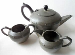 Antique Walker & Company Homeland Sheffield England Arts & Crafts Pewter Tea Set Patent Teapot Jug