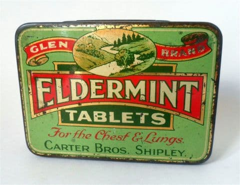 HTF Antique Vintage Chemist Medical Tin Carter Bros Shipley Glen Brand Eldermint Tablets 1930s