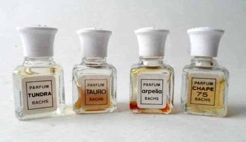 HTF Vintage BACHS Mini Perfume Parfum Bottle Set Collection 1970s Chape 75 Arpelia Tauro Tundra
