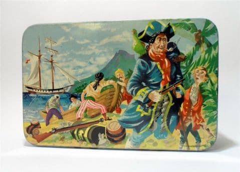 HTF Vintage Carr & Co Carrs Carlisle Adventure Tin Treasure Island Map Iced Biscuits Label Pictorial