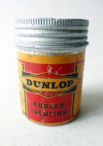 HTF Vintage Cycling Tin Dunlop Rubber Solution Circa 1950s Round Aluminum Bike Bicycle Repair Transport