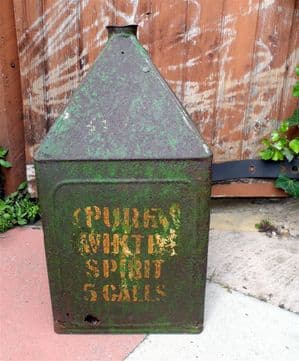 HTF Vintage Pyramid 5 Gallon Oil Can Tin Pure White Spirit C & MR  Railway? Circa 1930s Shed Garage
