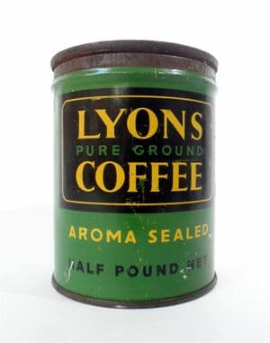Vintage Lyons Pure Ground Coffee Tin J Lyons London Unusual Key Wind Tag Twist Type MB Metal Box