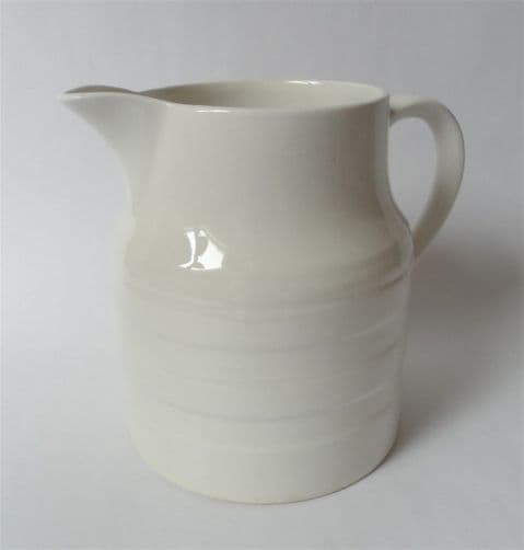 Large Vintage Mid Century 4 Pint Lord Nelson Pottery White Banded Dairy Milk Jug Circa 1970s