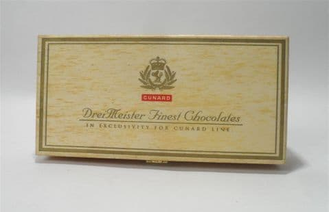 Post Vintage Cunard DreiMeister Wooden Chocolate Box  Non Alcoholic Honeymoon Truffle Assortment Pen